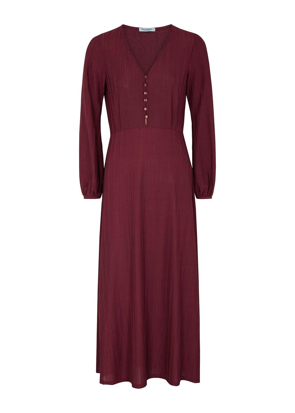 Baba burgundy stretch-jersey midi dress