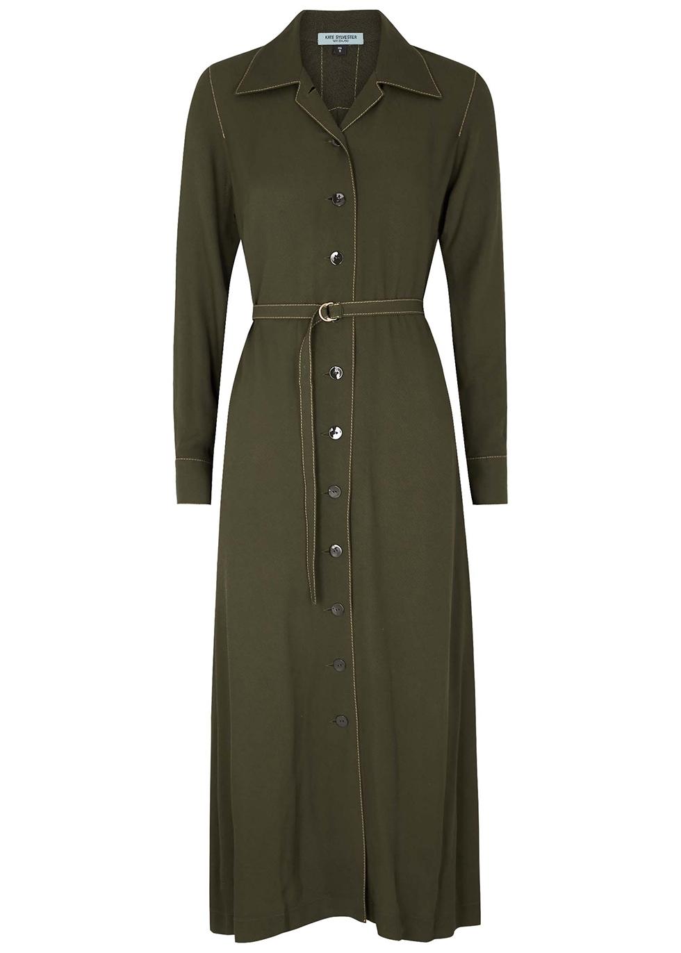 Marion olive twill shirt dress