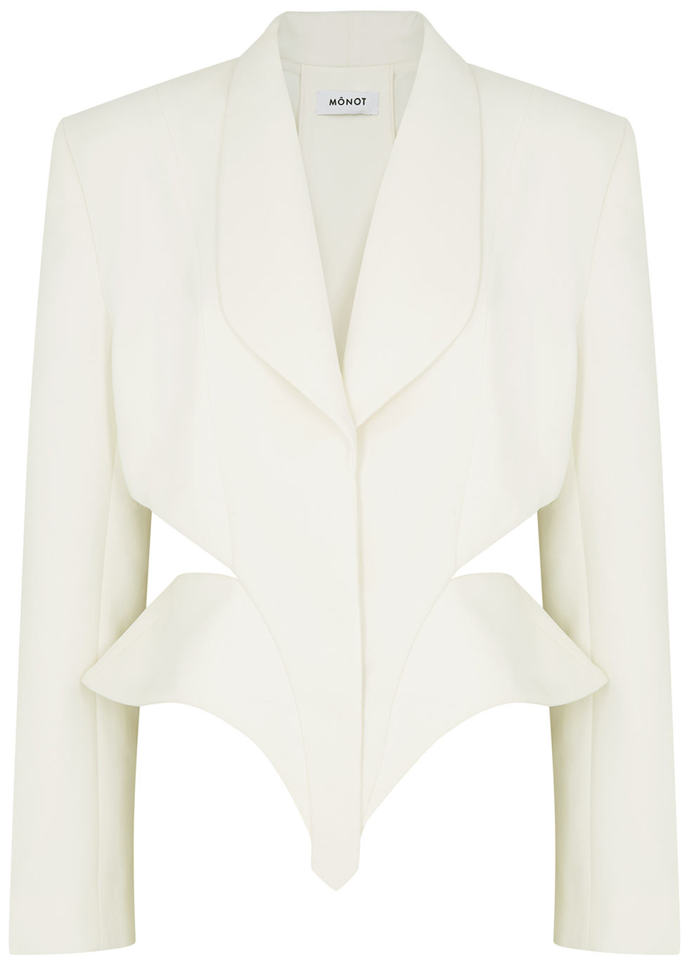 White cut-out crepe blazer