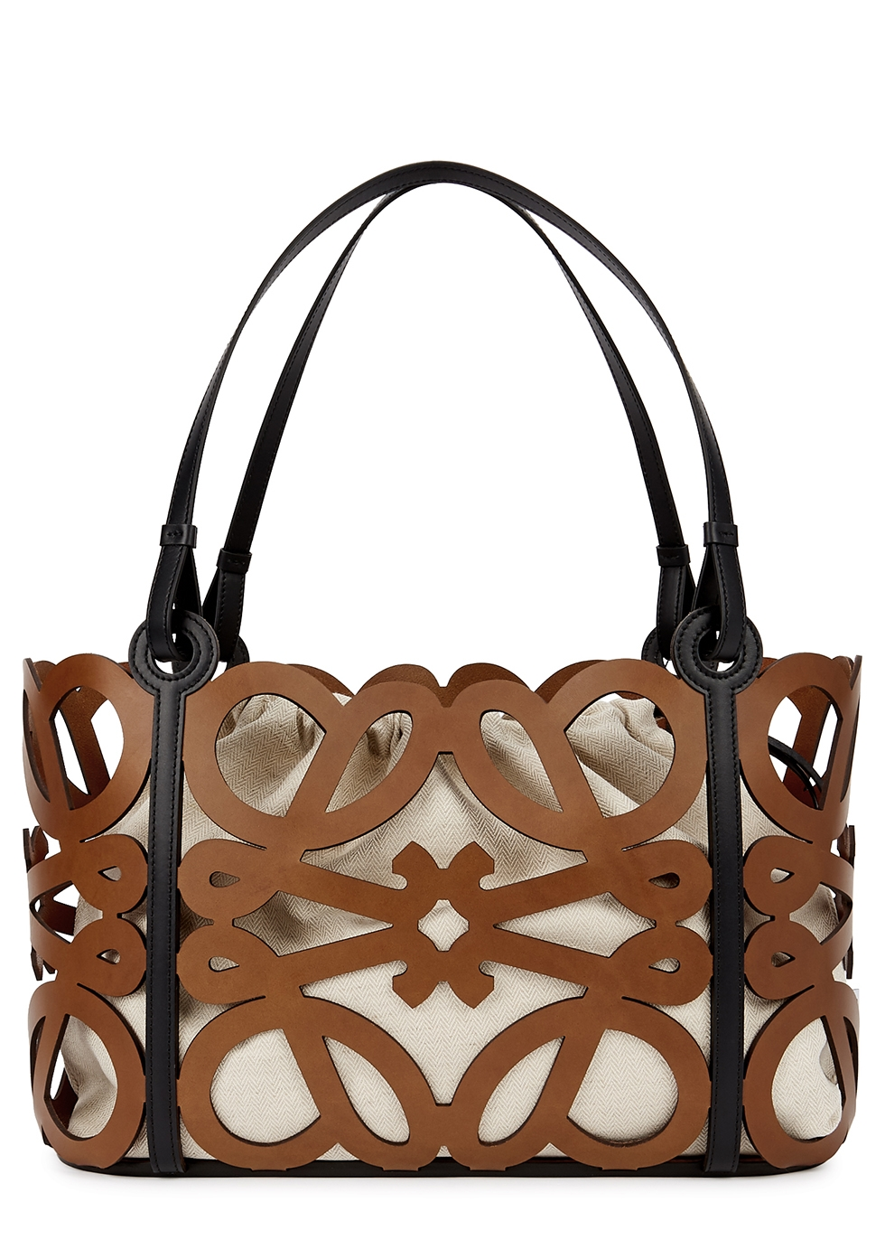 Anagram cut-out leather tote