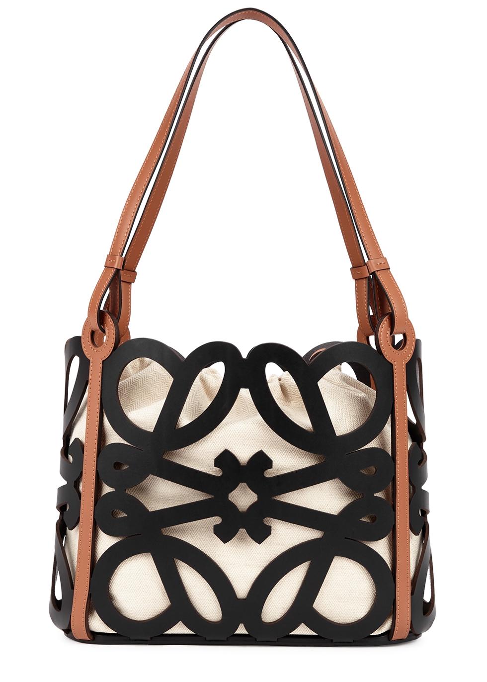 Anagram cut-out leather shoulder bag