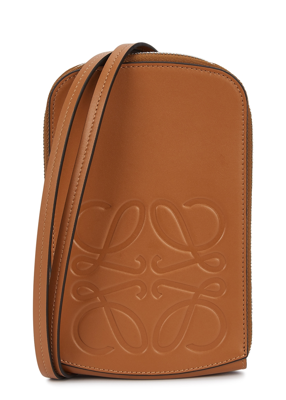 Brown logo leather neck pouch