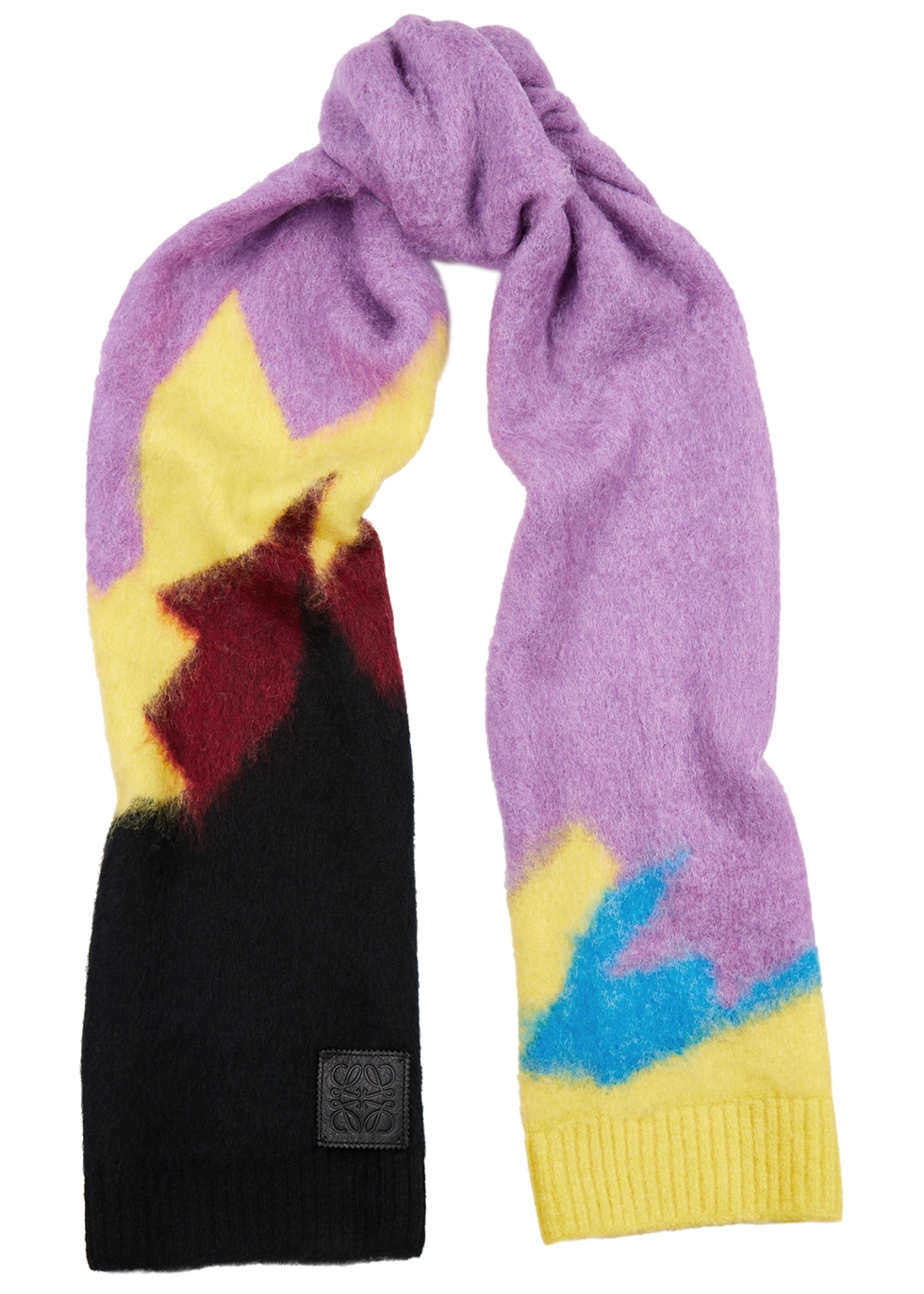 Colour-blocked knitted scarf