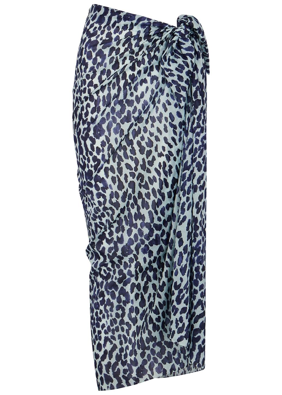 Leopard-print cotton sarong