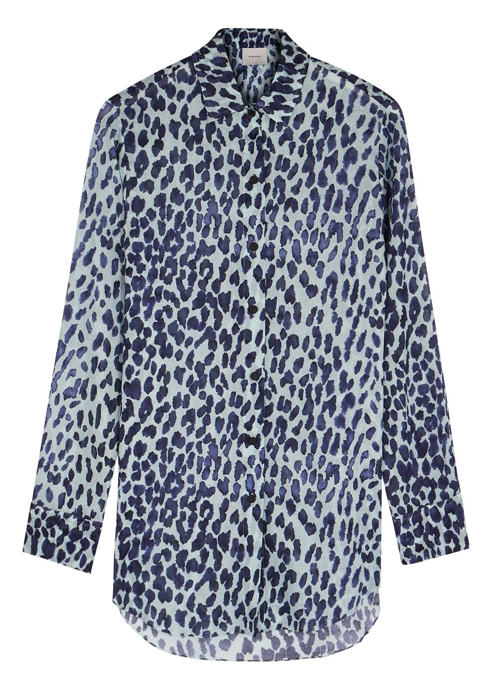Symi blue leopard-print cotton shirt