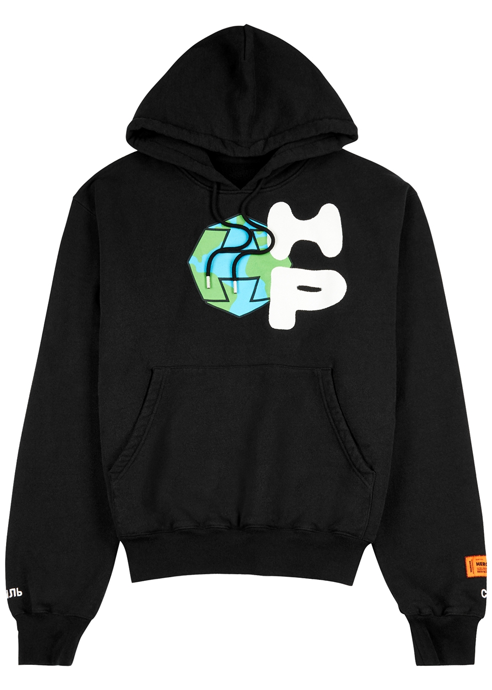 Black printed cotton sweatshirt