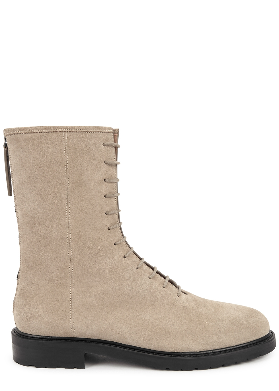 Combat stone suede ankle boots