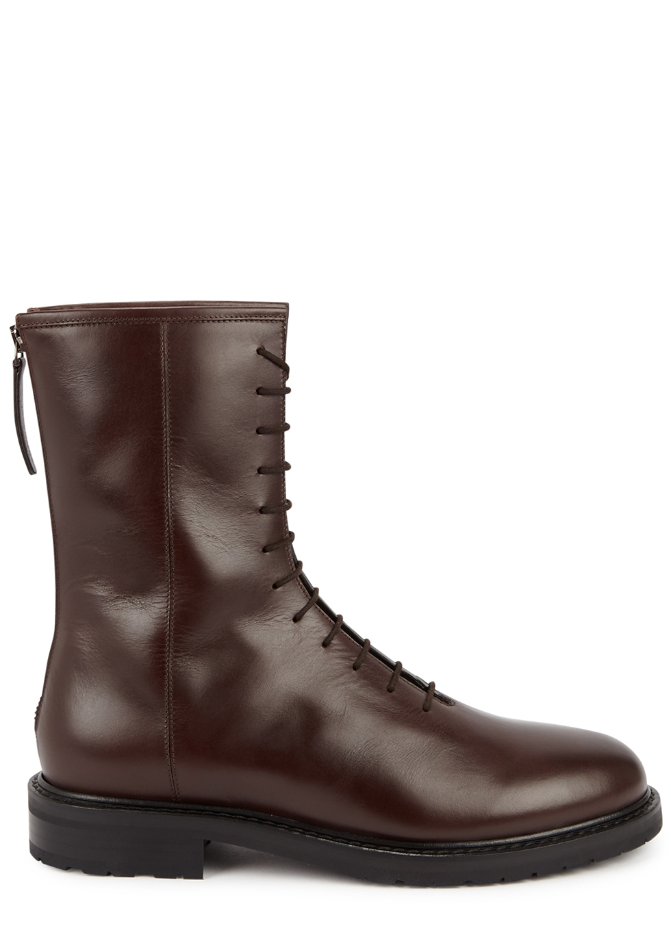 Combat dark brown leather ankle boots