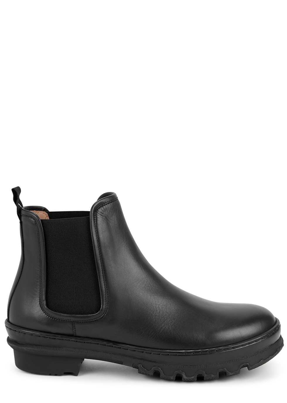 Garden black leather ankle boots