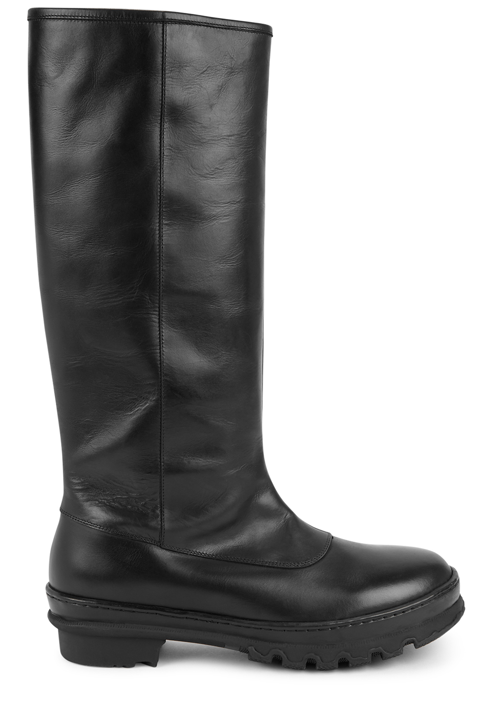 Garden black leather knee-high boots
