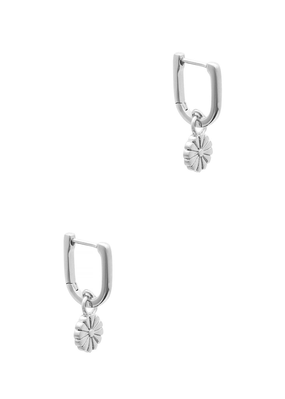 Daisy sterling silver huggie earrings