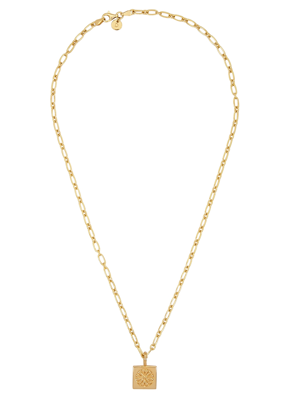 Daisy Square 18kt gold-plated chain necklace