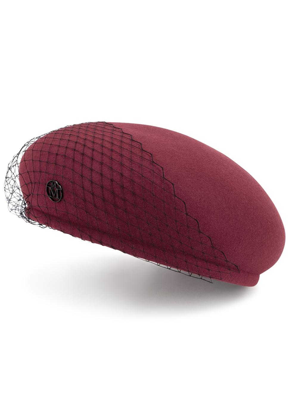 New Bonnie burgundy veiled felt beret