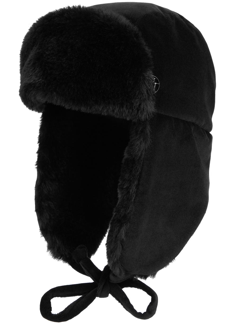 Bibiana black velvet aviator hat