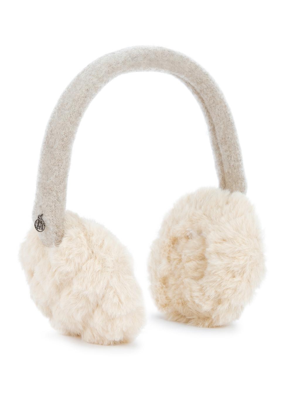 Morgana ivory faux fur ear muffs