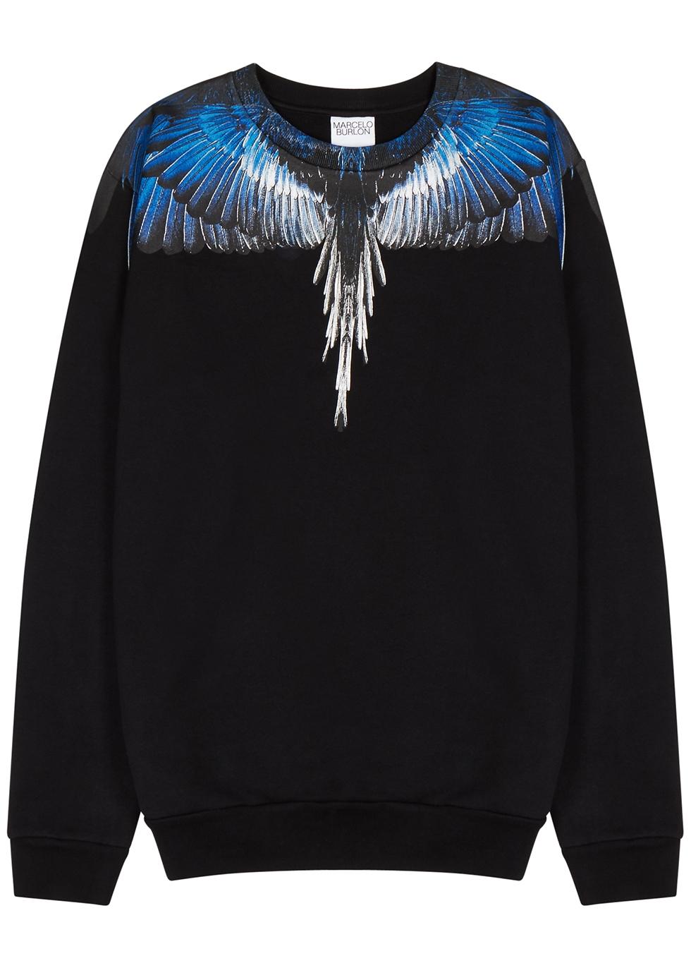 Wings black printed cotton sweatshirt