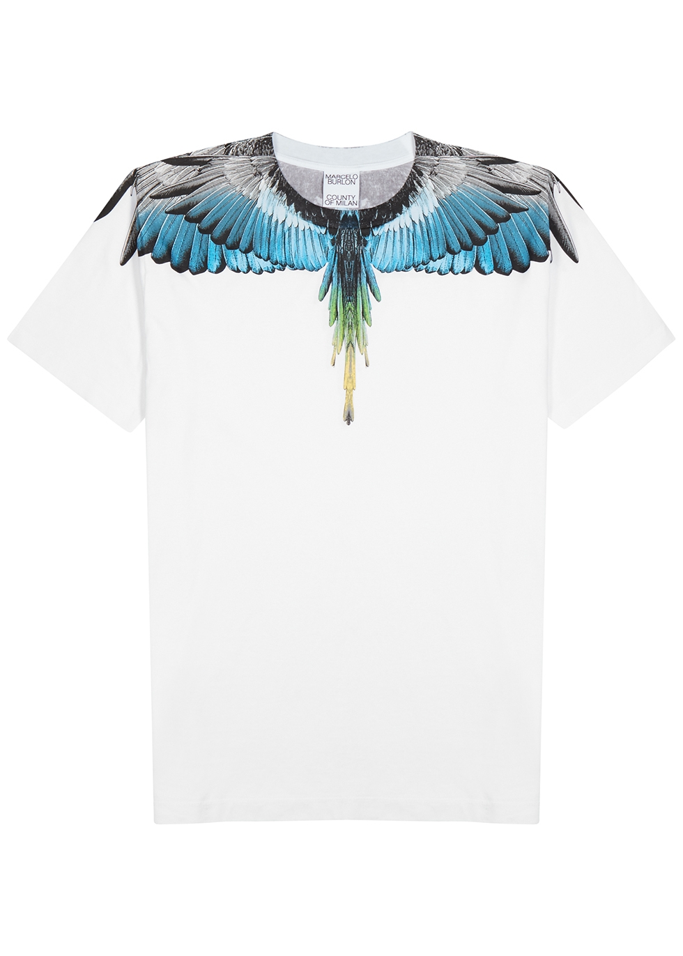 Wings black printed cotton T-shirt