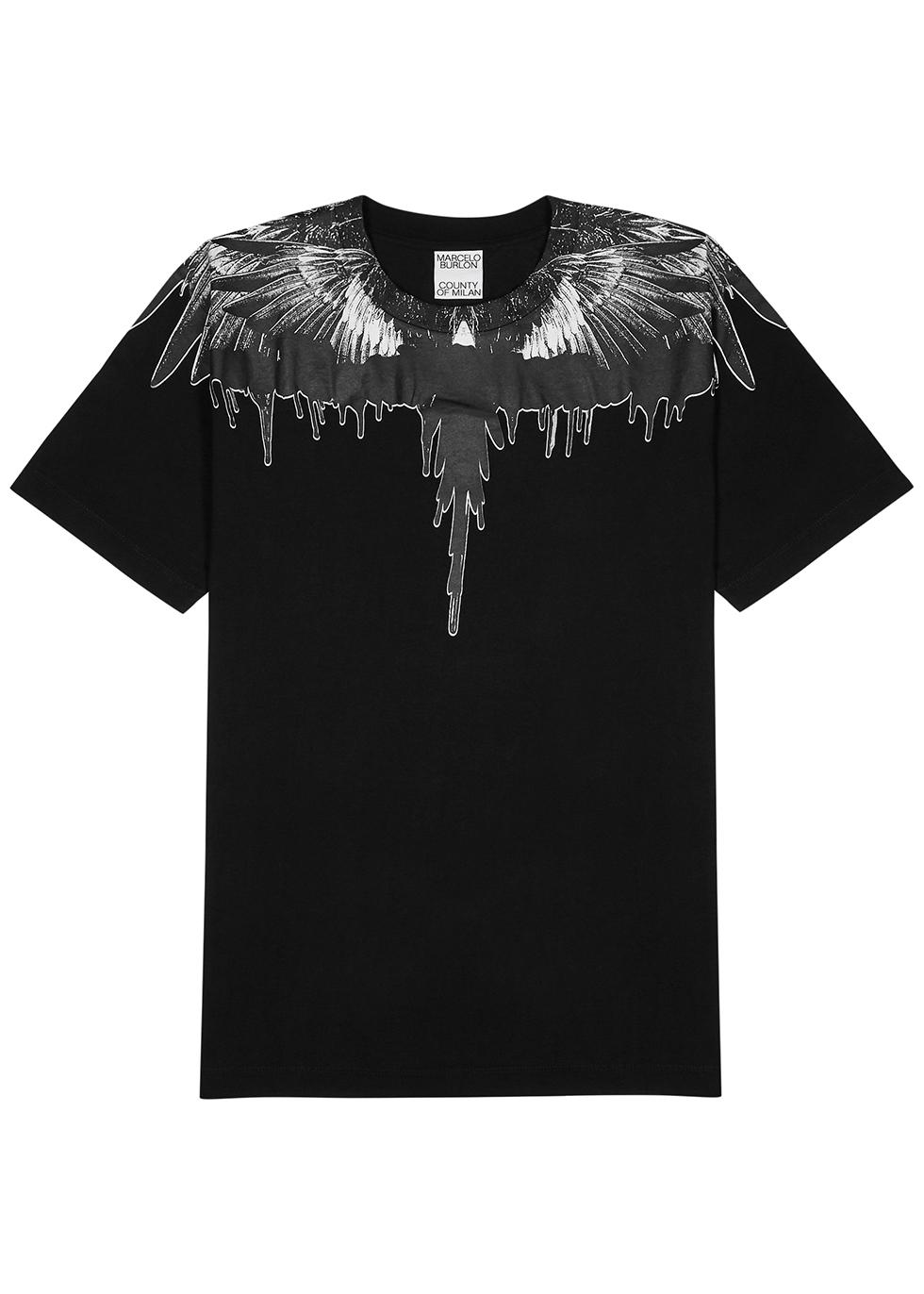 Tar Wings printed black cotton T-shirt