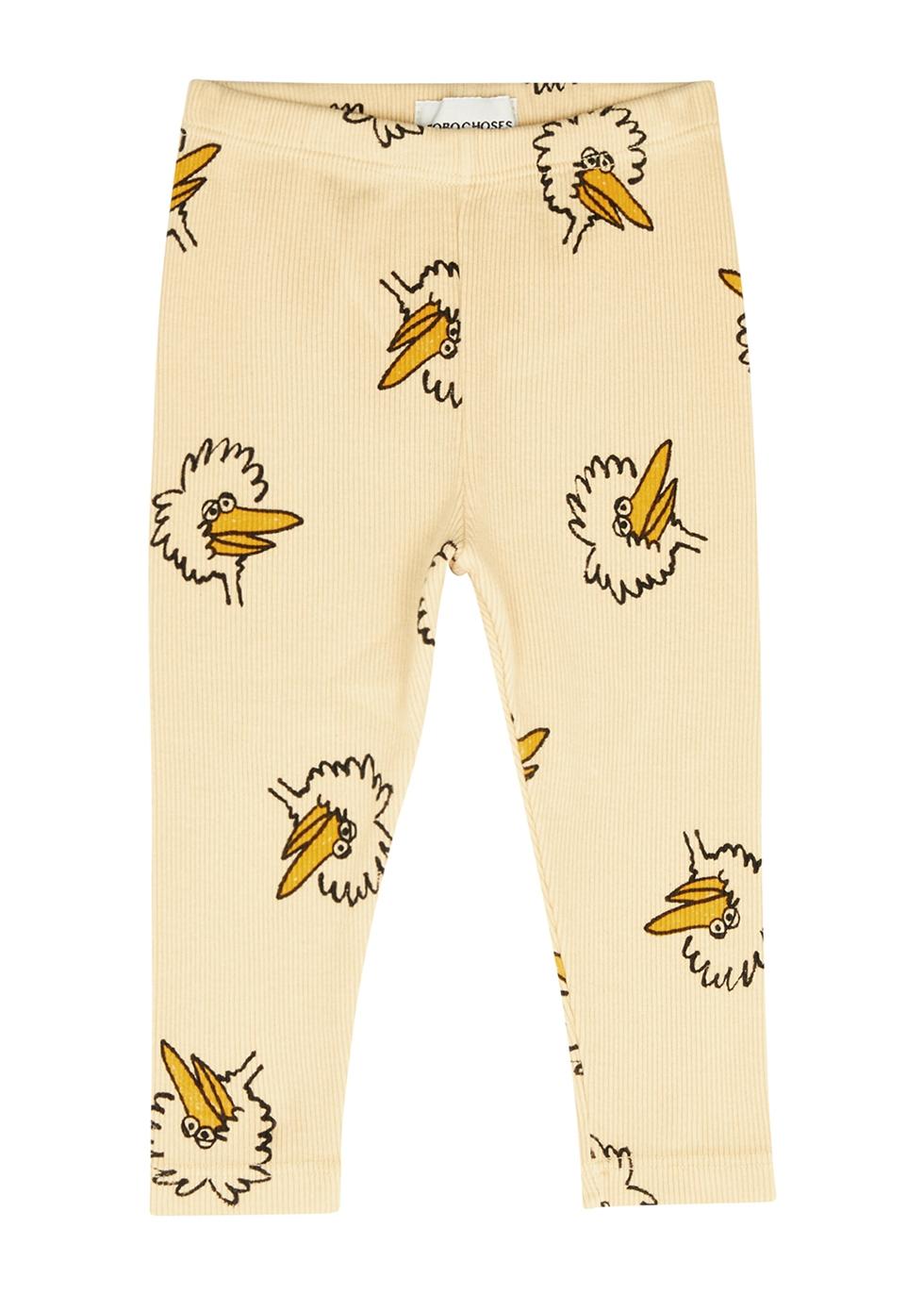 Birdie printed stretch-cotton leggings