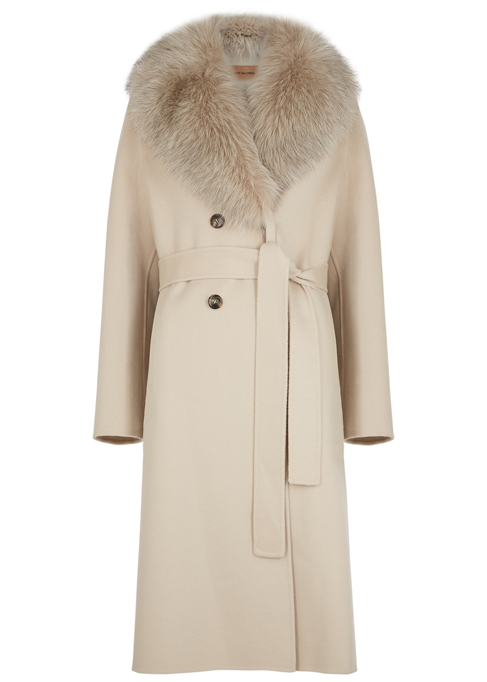 Sand double-breasted wool-blend coat