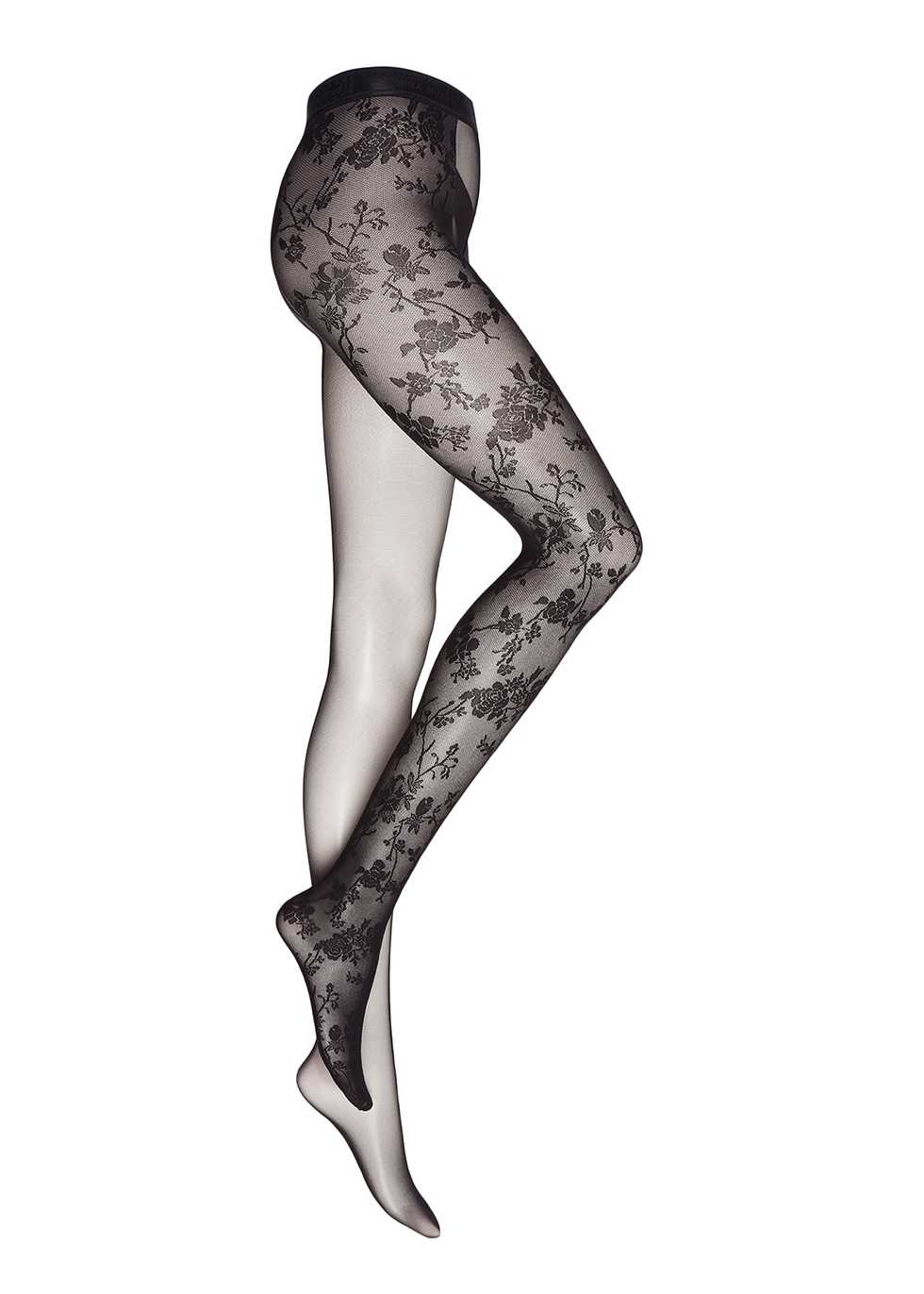 Black lace-trimmed tights
