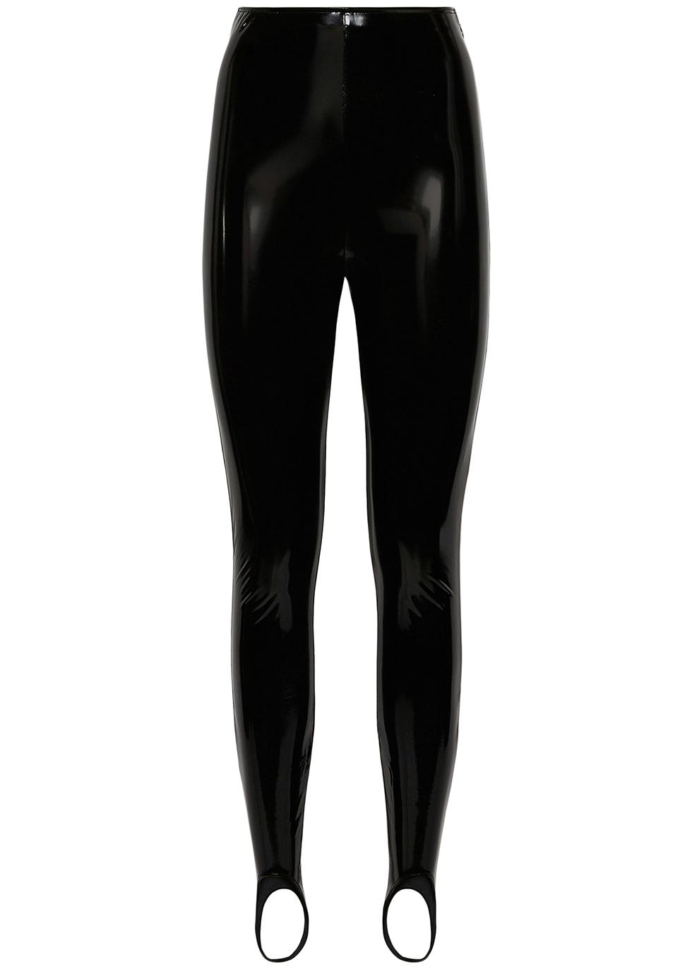 Black latex stirrup leggings