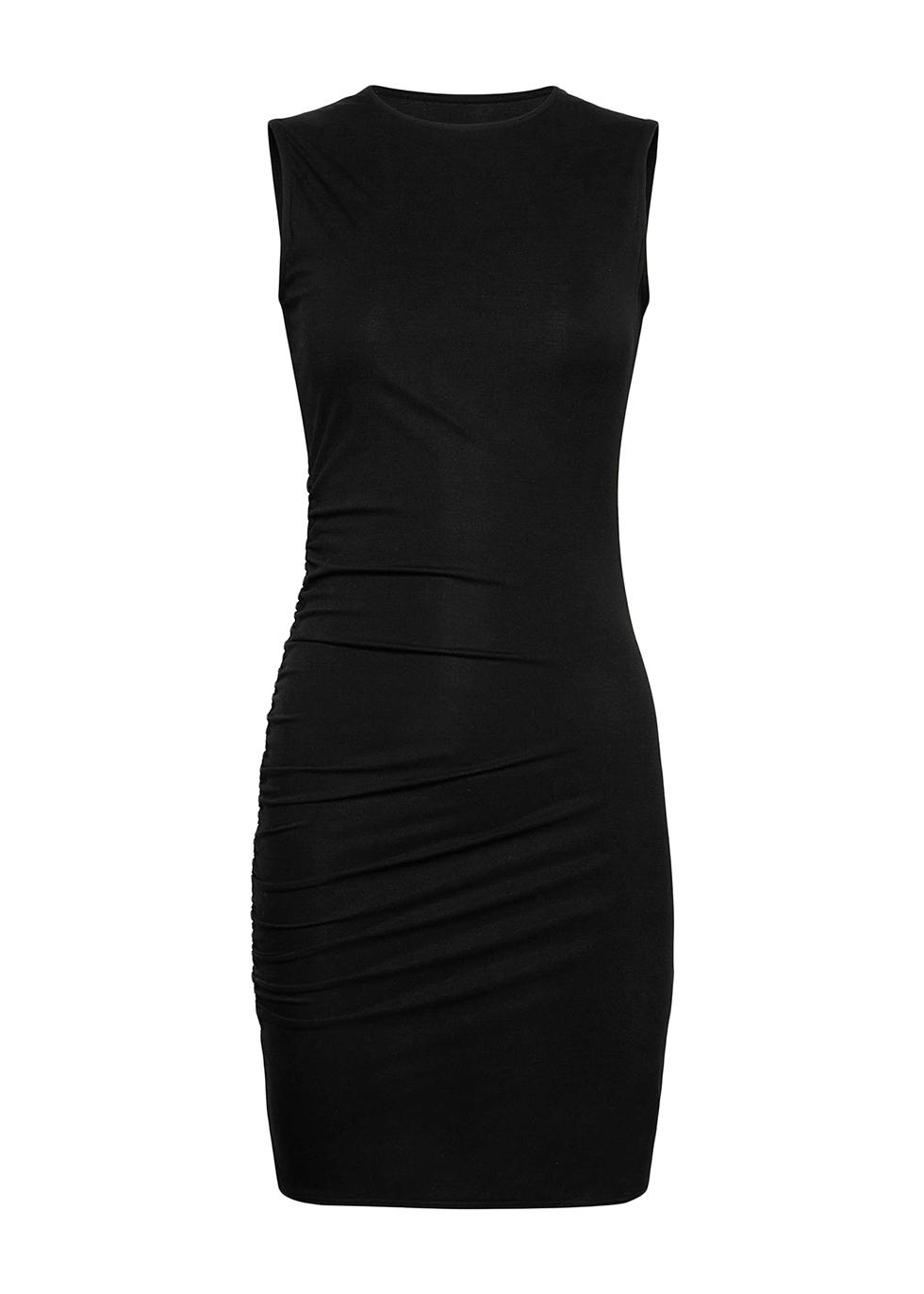 Black ruched stretch-jersey mini dress
