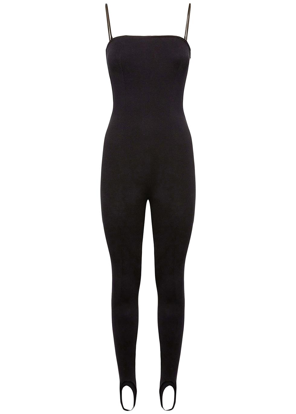 Black stretch-modal stirrup jumpsuit