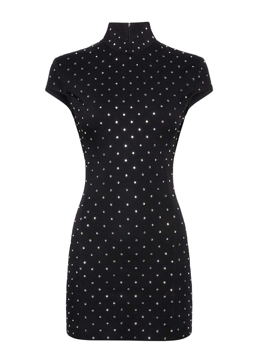 Black crystal-embellished mini dress