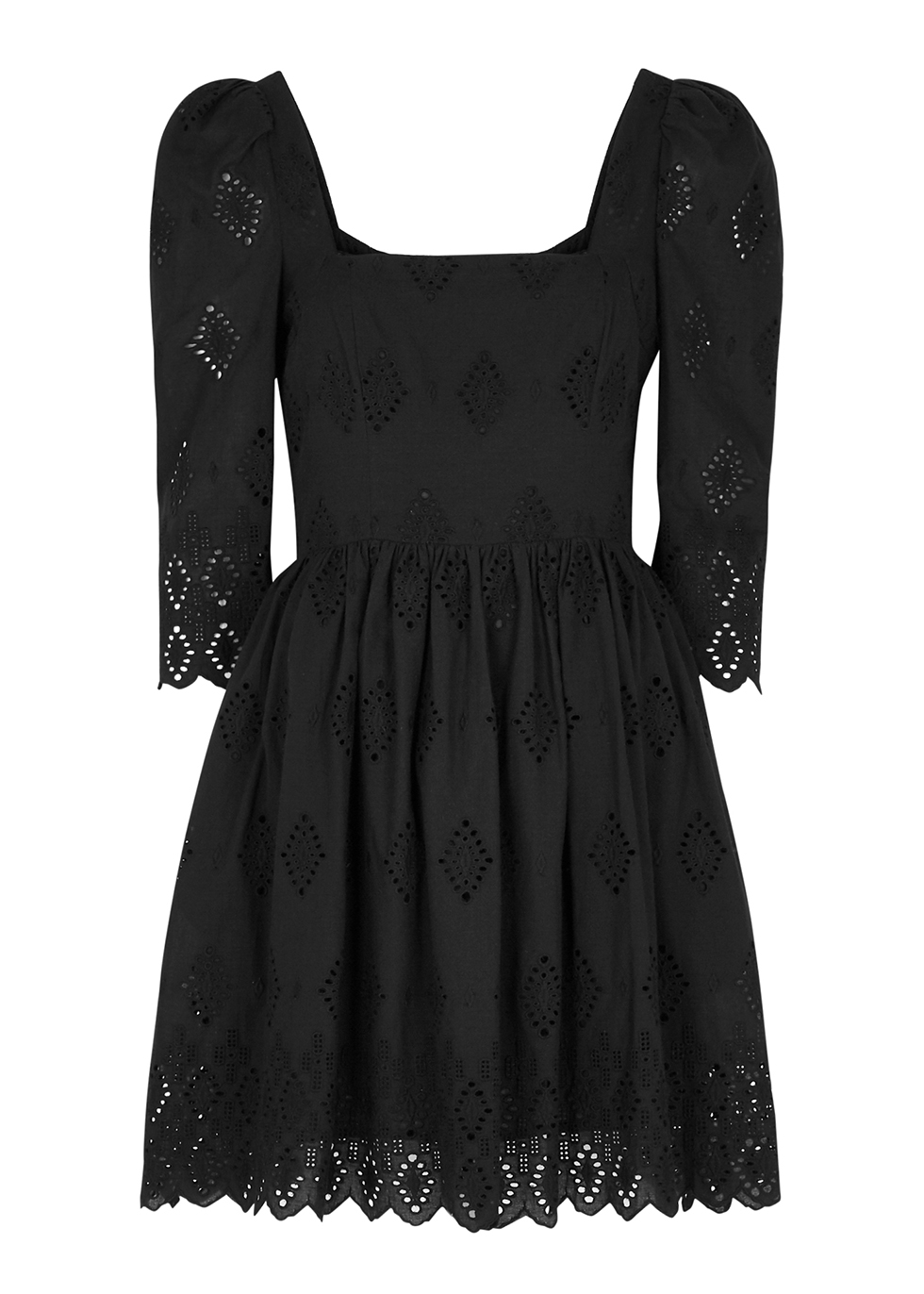 Hart black embroidered cotton mini dress