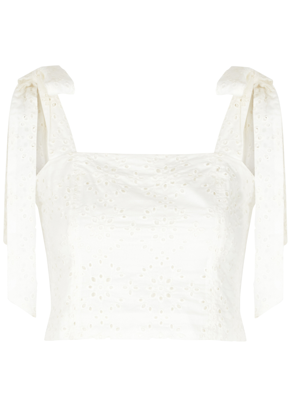 Helena white cropped broderie anglaise top
