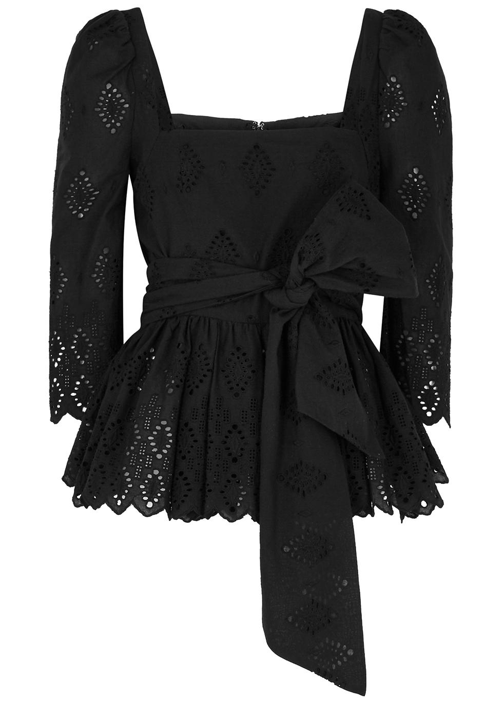 Lauren black embroidered cotton-poplin top