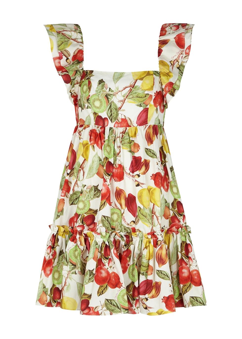 Lexa printed cotton-poplin mini dress