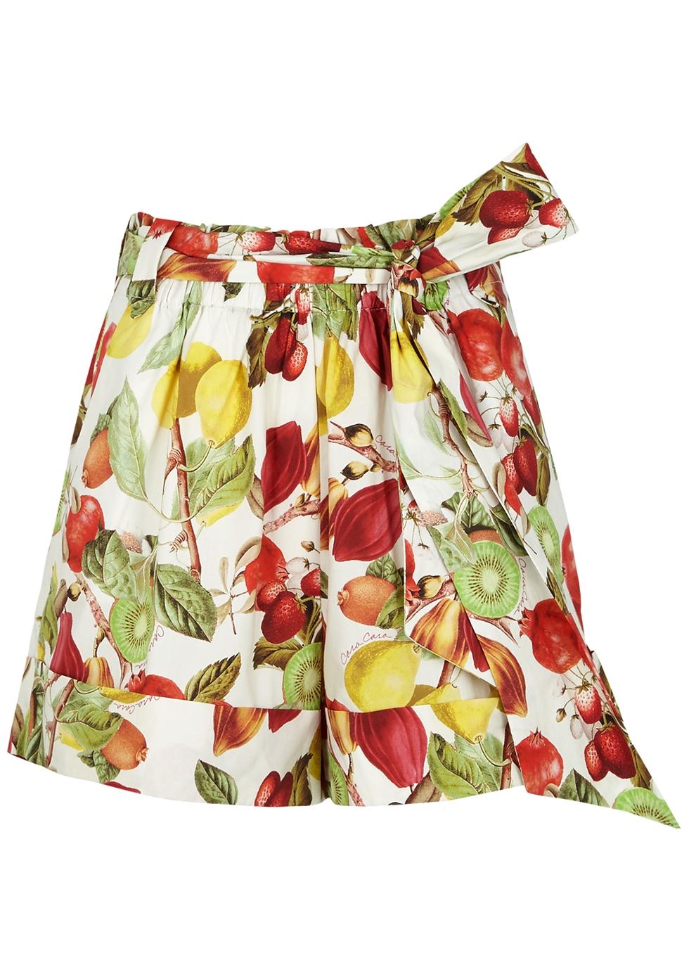 Whitney printed cotton-poplin shorts