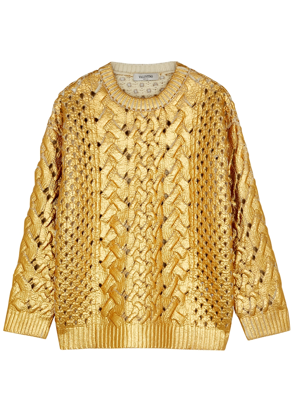 Gold cable-knit wool jumper