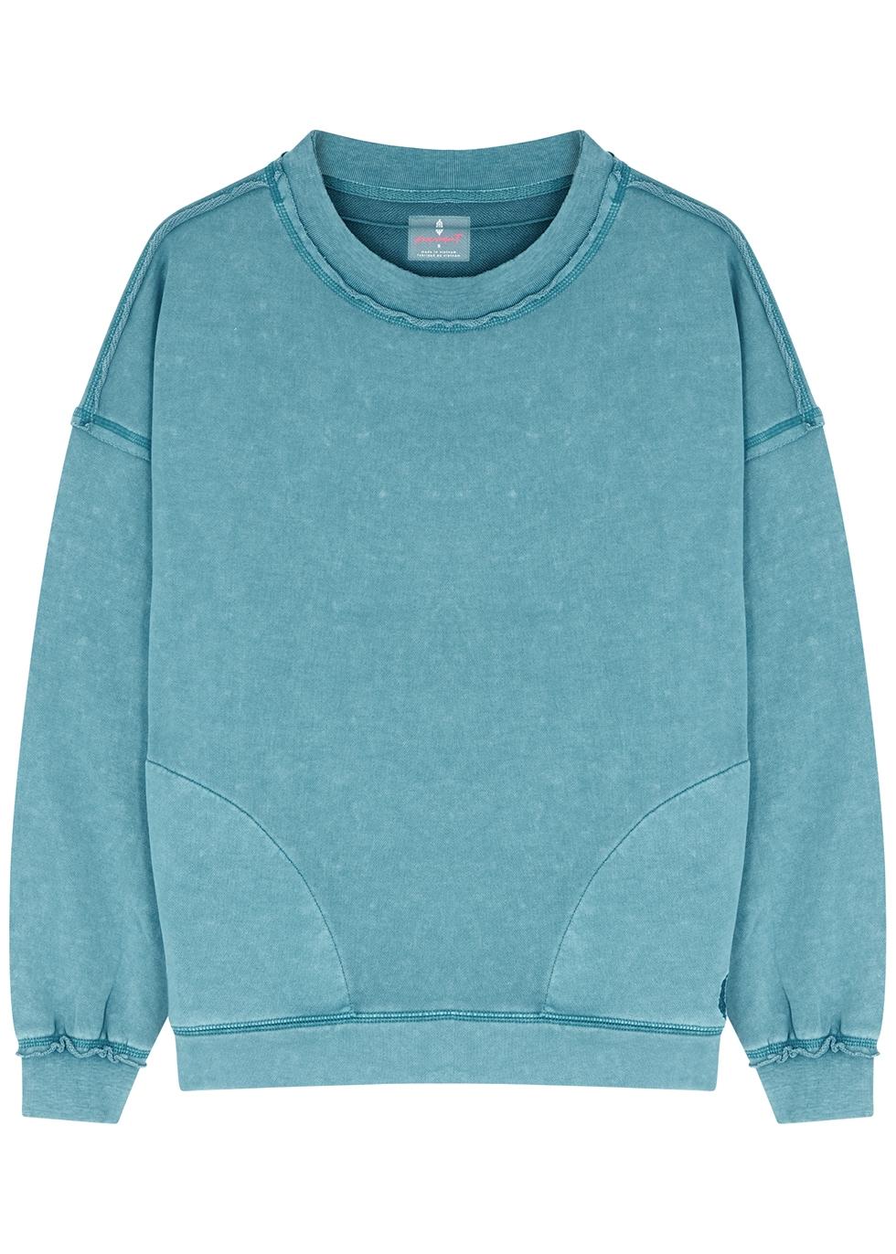 Solid Metti teal cotton-blend sweatshirt