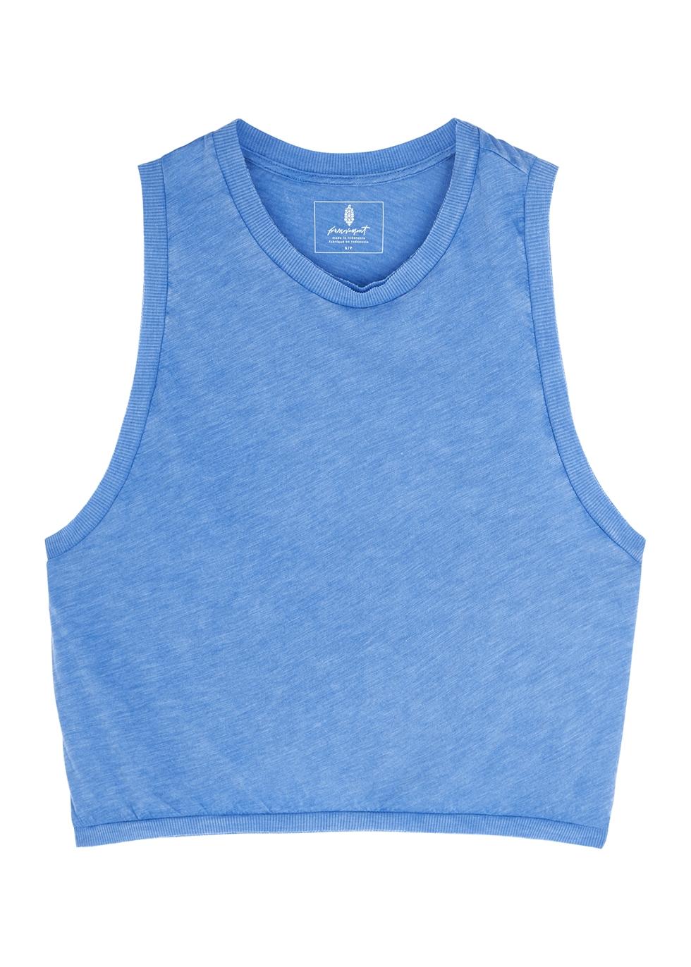 T Love blue slubbed jersey tank