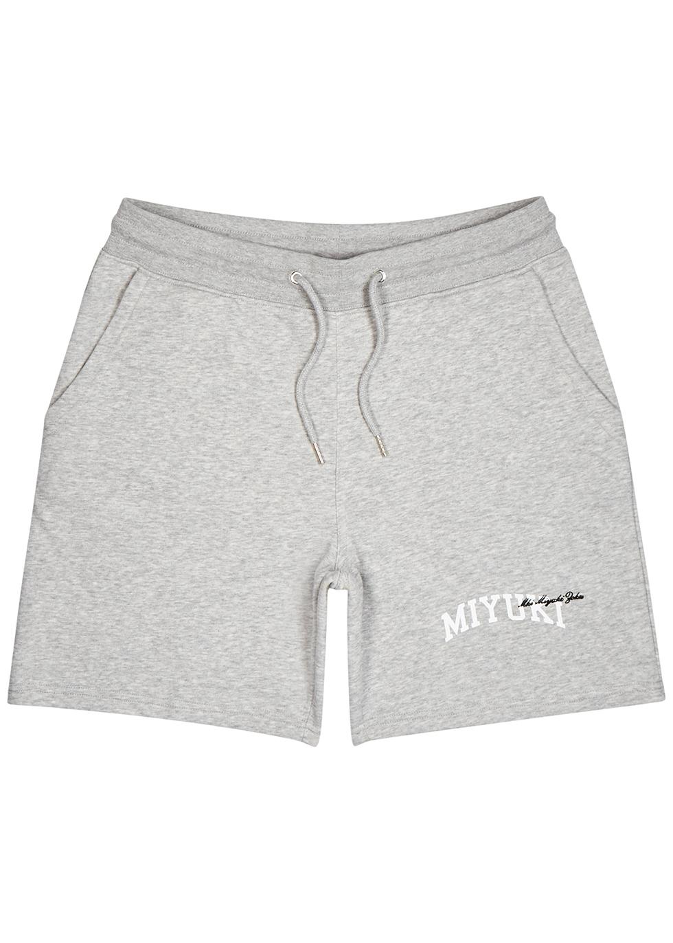 Grey logo mélange jersey shorts