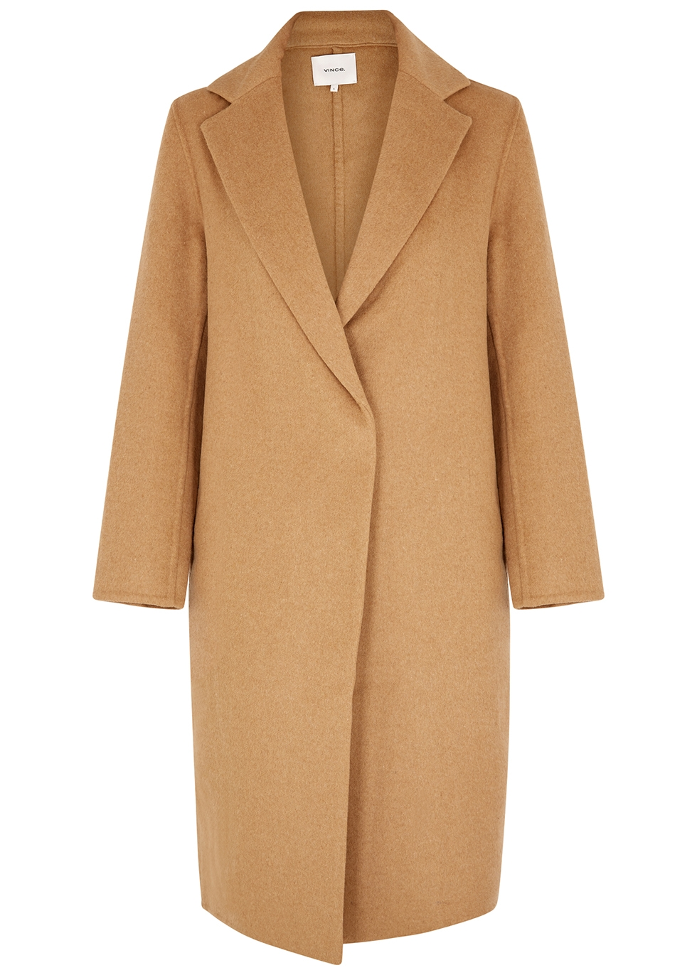 Classic camel wool-blend coat