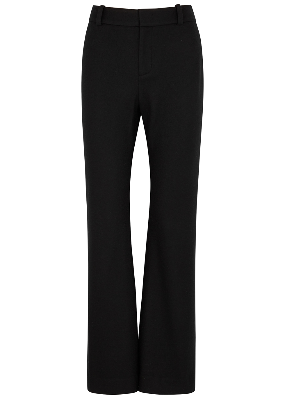 Cozy black flared wool-blend trousers