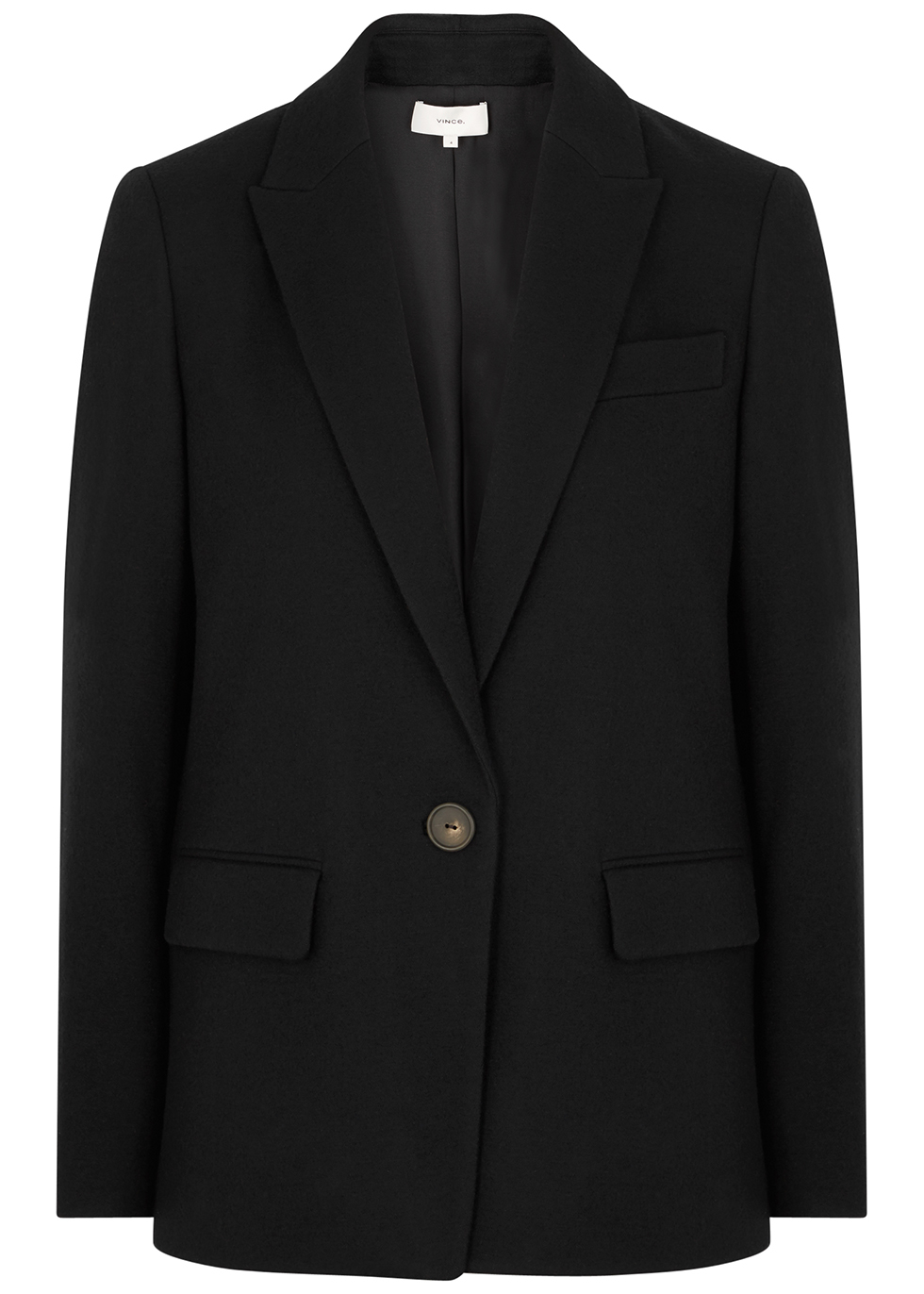 Cozy Boyfriend black wool-blend blazer