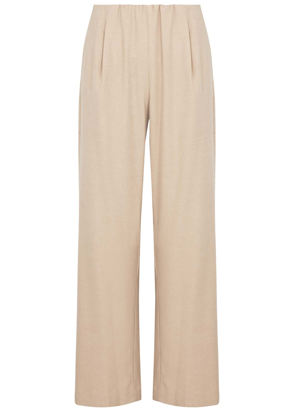 Sand wide-leg stretch-flannel trousers