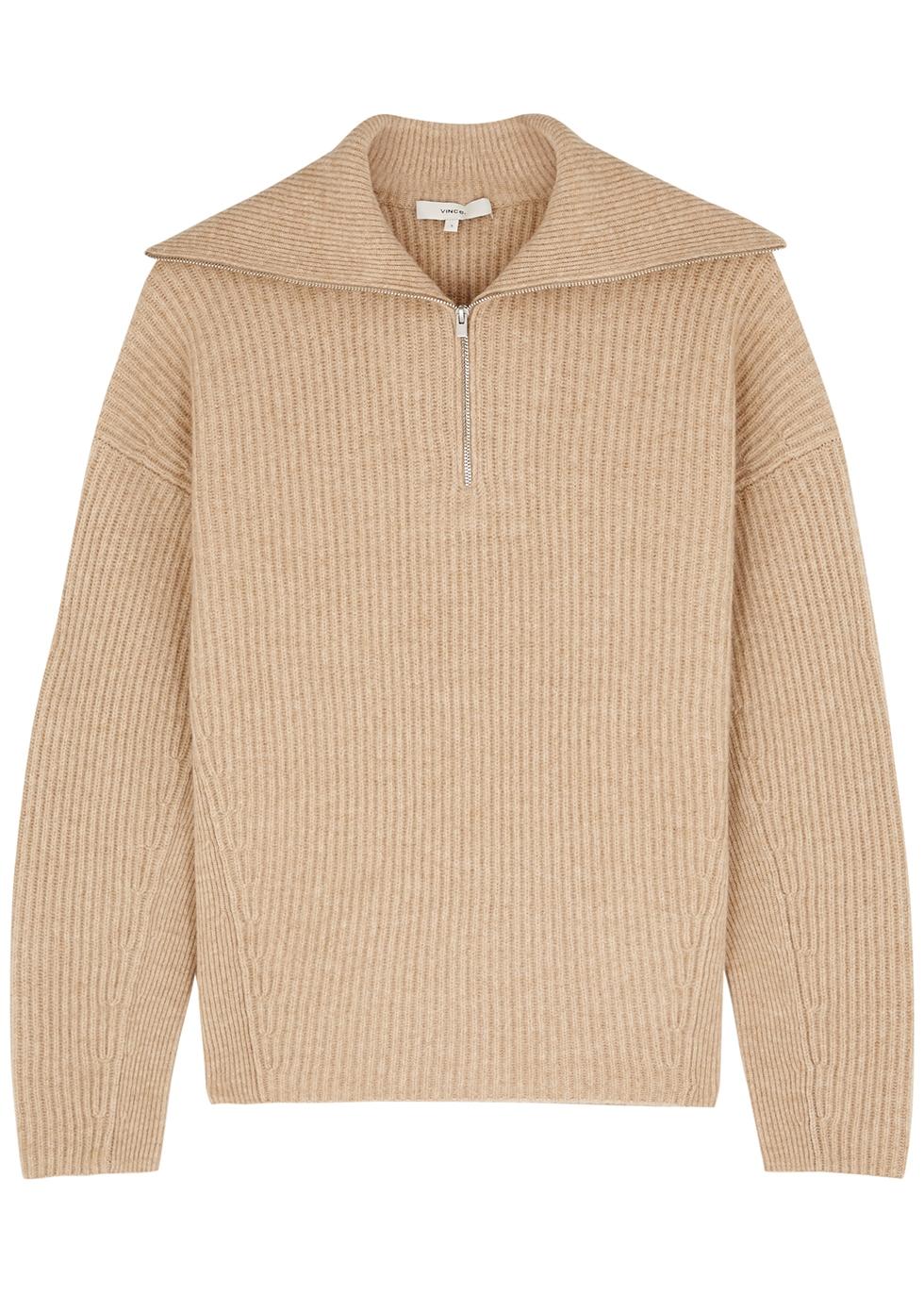 Camel half-zip wool-blend jumper