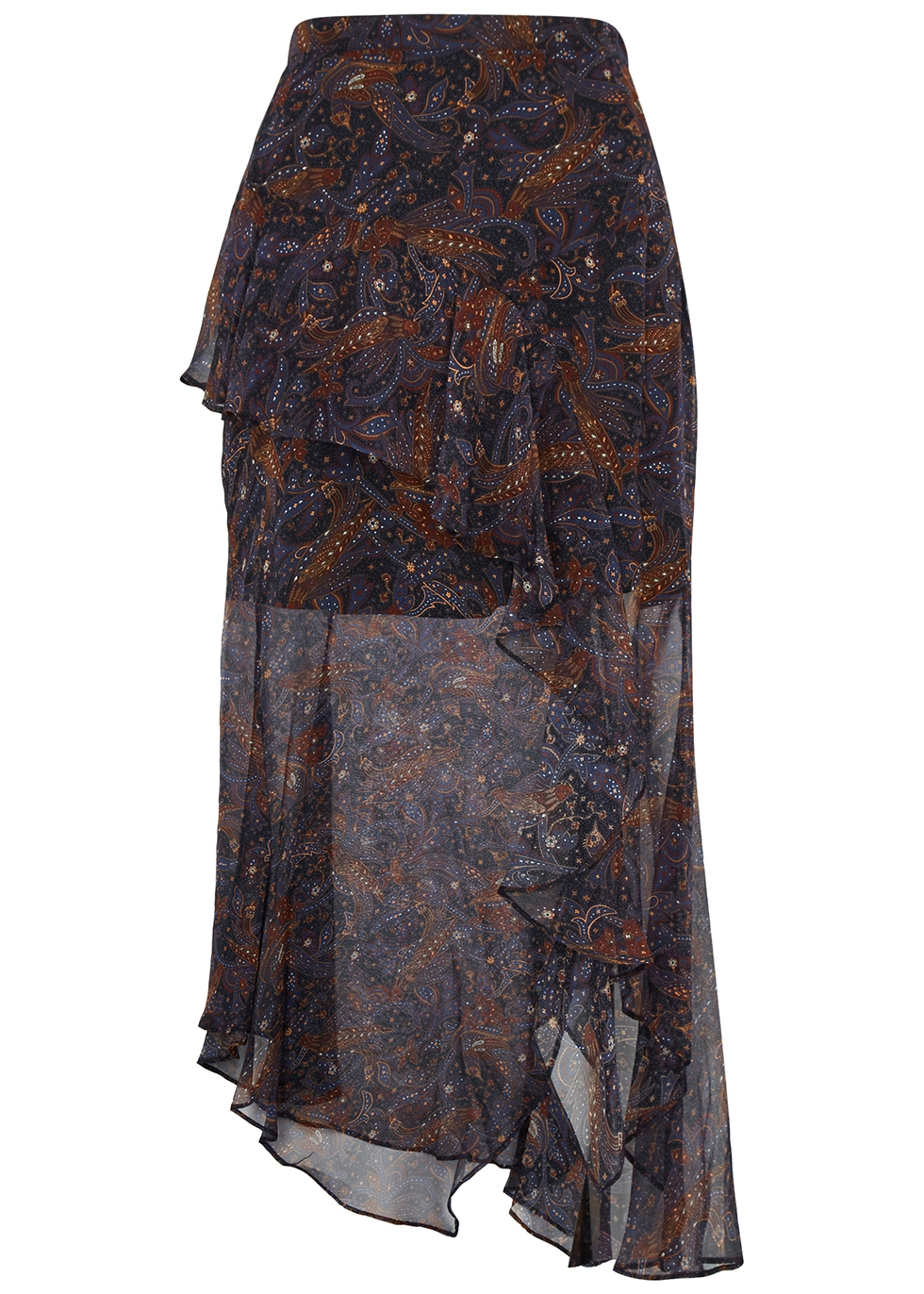 Trixie printed silk-chiffon midi skirt