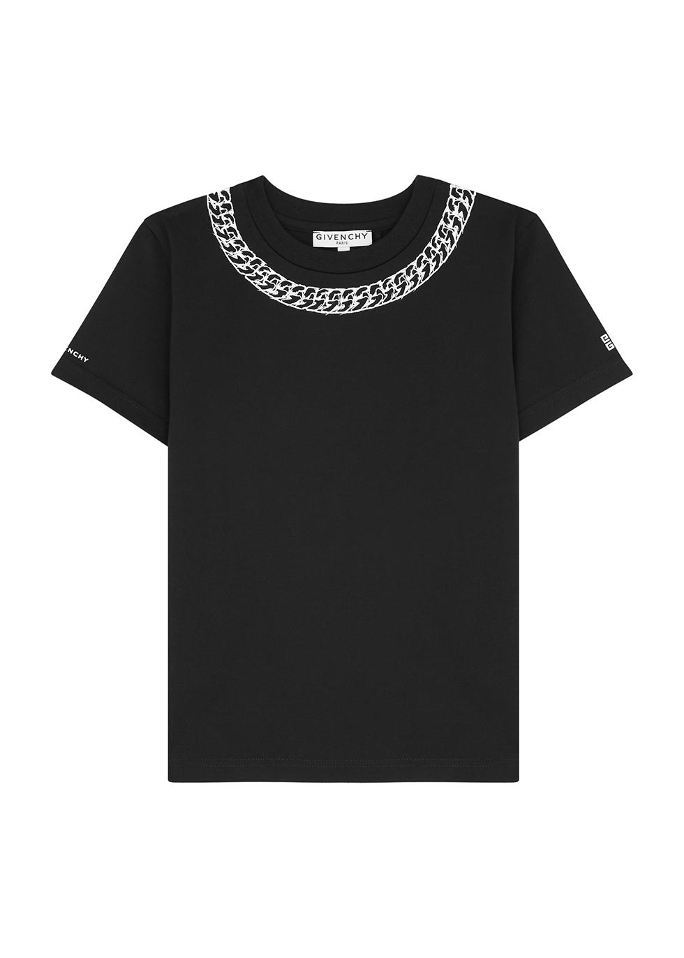 Black chain-print cotton T-shirt (4-5 years)