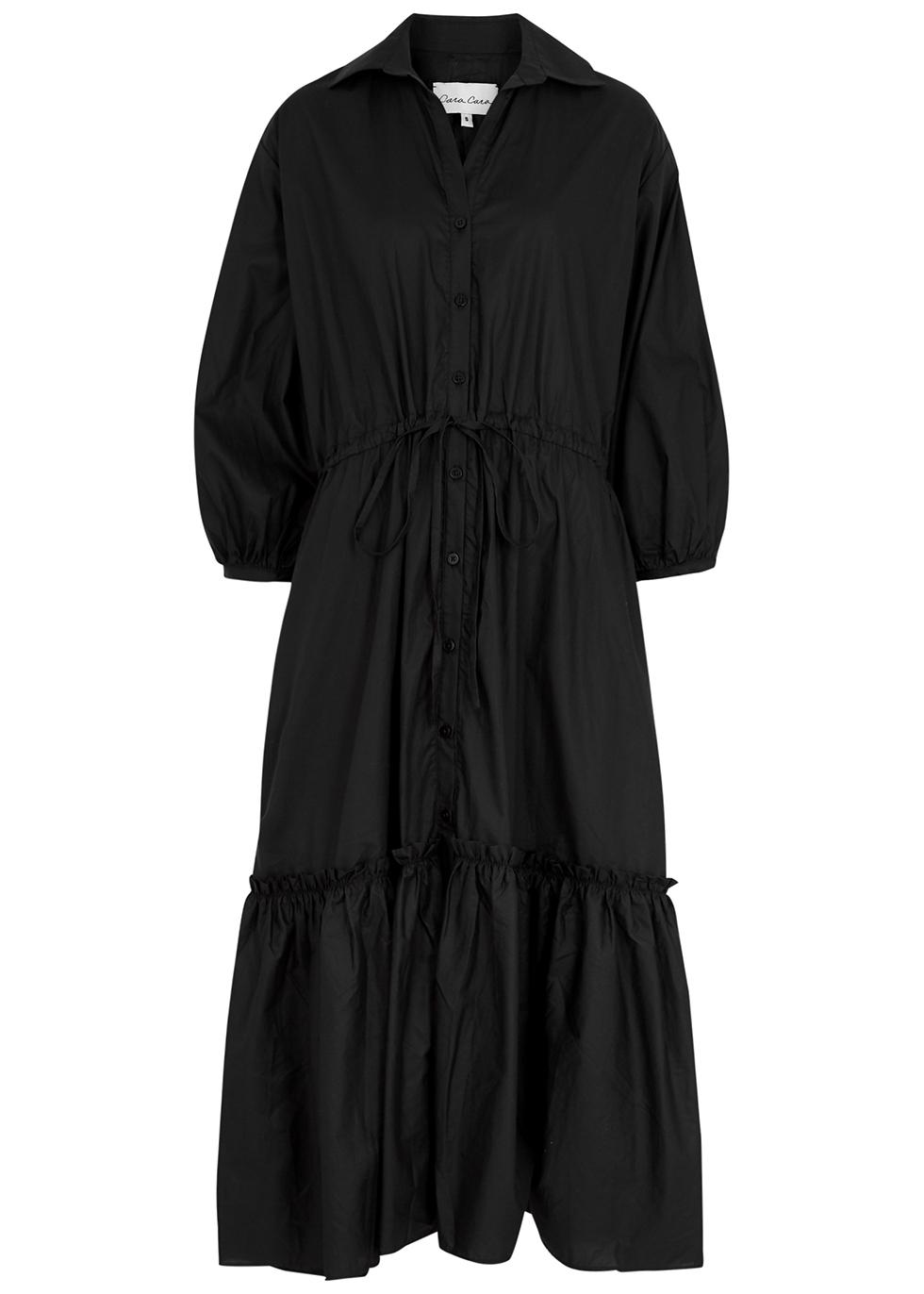 Hutton black cotton midi dress