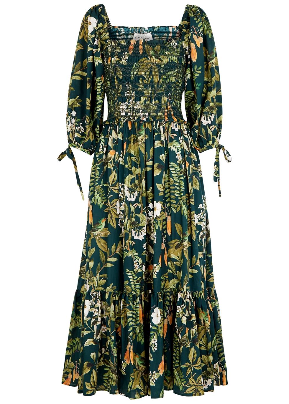 Jazzy green printed cotton midi dress