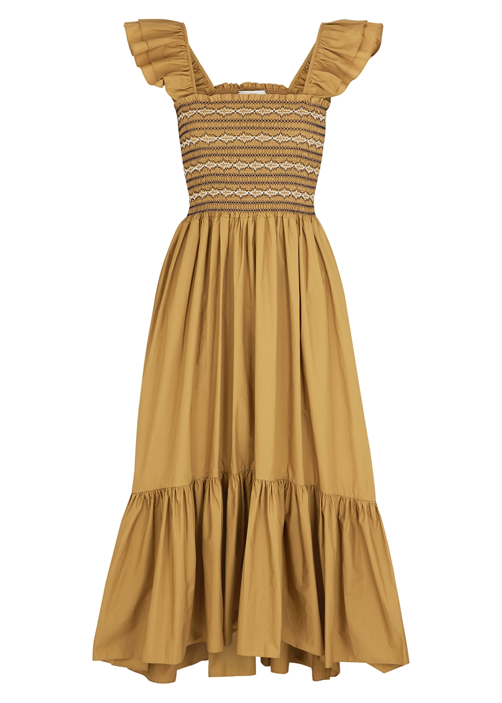 Ruby brown cotton midi dress