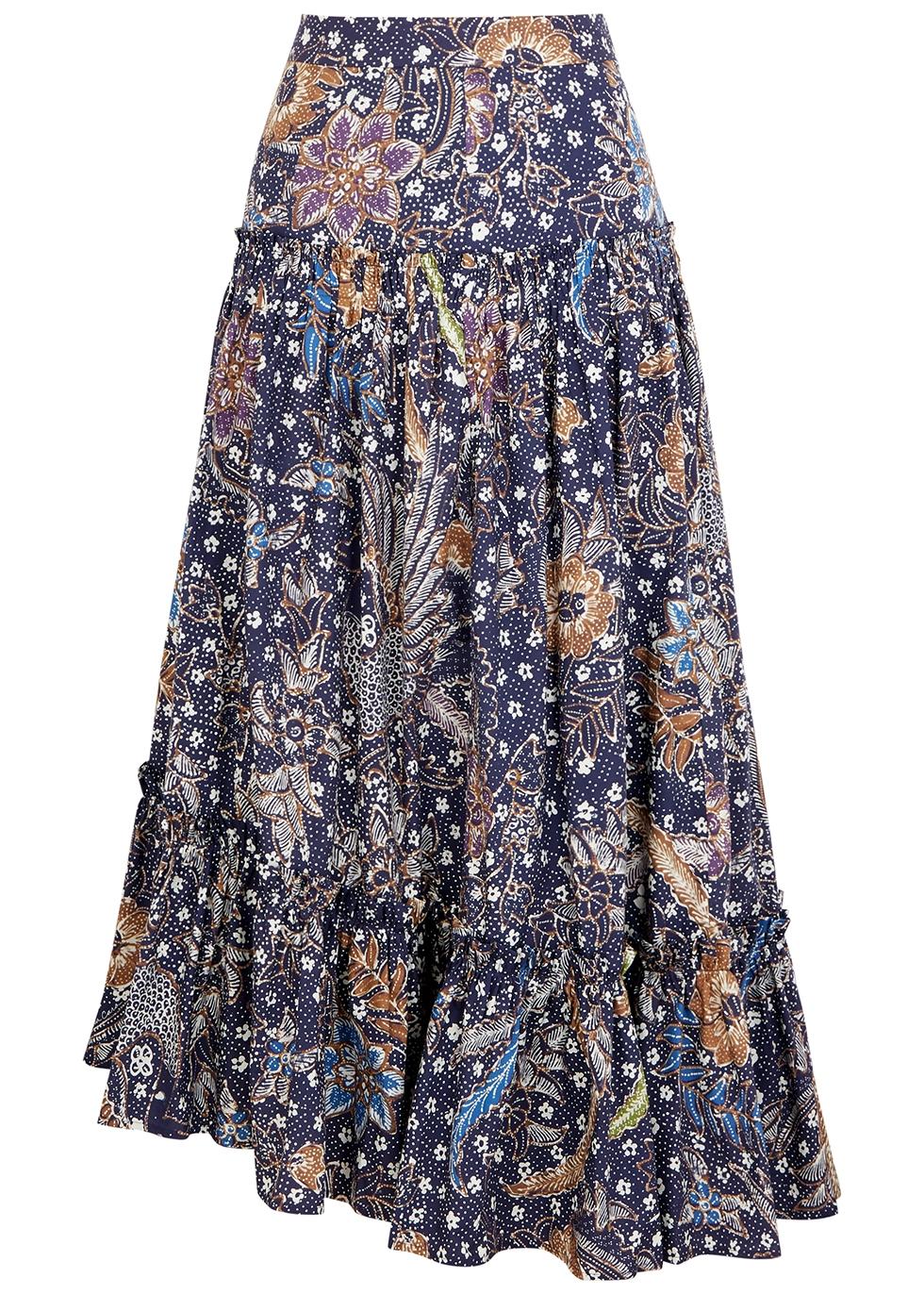 Tisbury printed cotton midi skirt