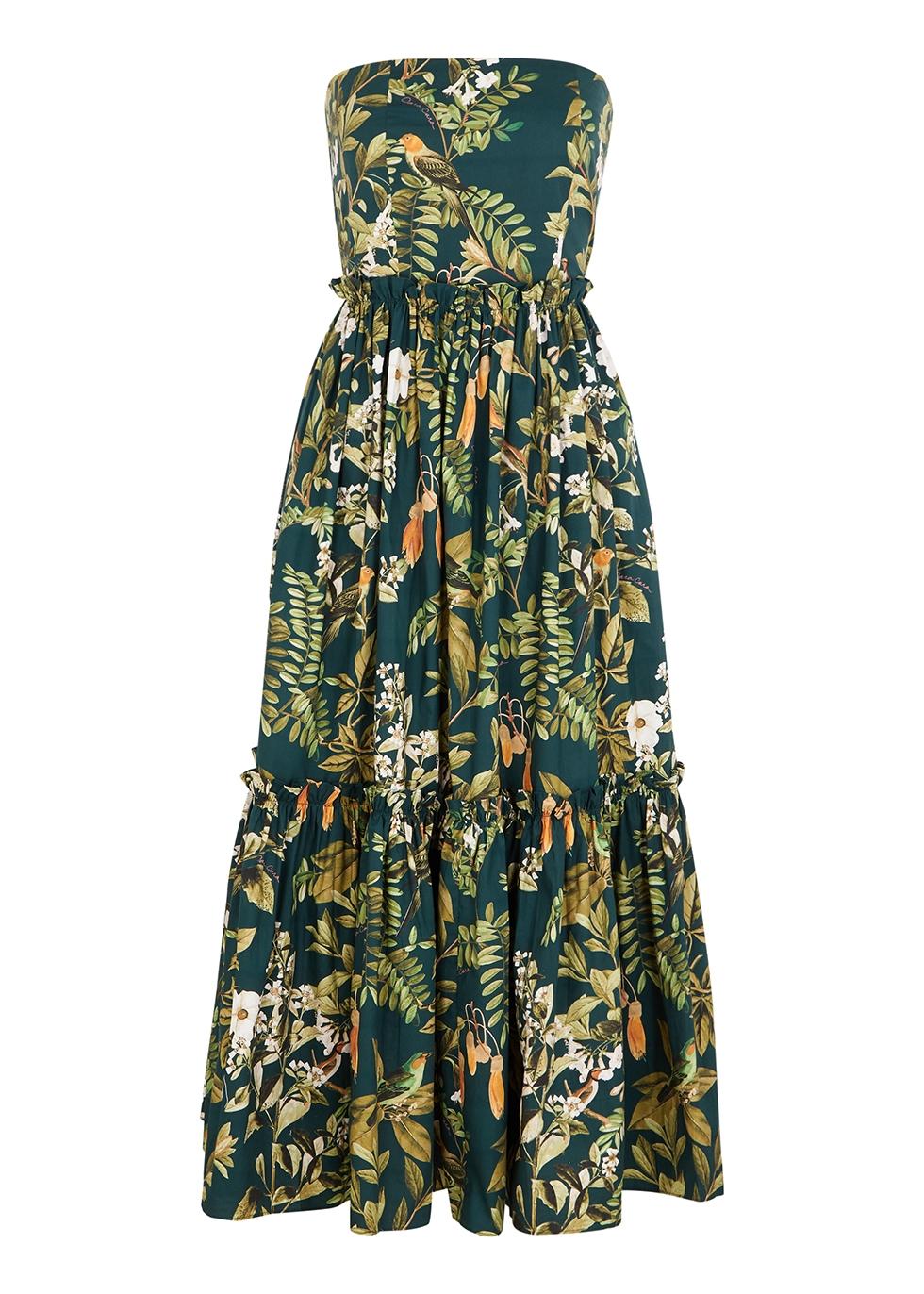 Torres green printed cotton midi dress